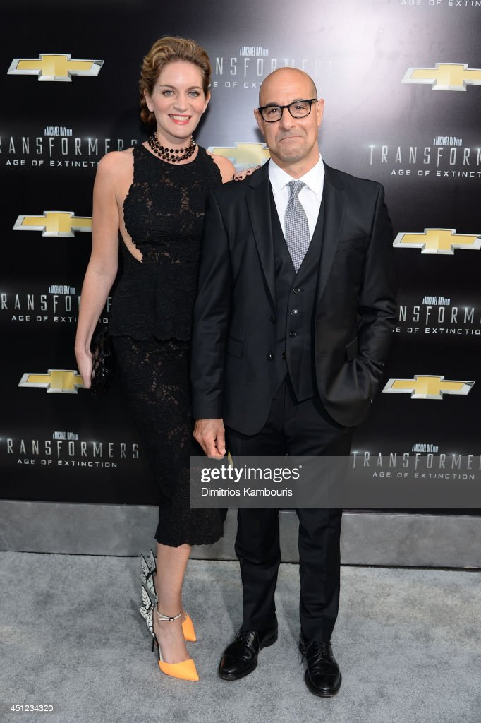 <a gi-track='captionPersonalityLinkClicked' href=/galleries/search?phrase=Stanley+Tucci&family=editorial&specificpeople=209366 ng-click='$event.stopPropagation()'>Stanley Tucci</a> and his wife <a gi-track='captionPersonalityLinkClicked' href=/galleries/search?phrase=Felicity+Blunt&family=editorial&specificpeople=2352501 ng-click='$event.stopPropagation()'>Felicity Blunt</a> attend the New York Premiere of 'Transformers: Age Of Extinction' at the Ziegfeld Theatre on June 25, 2014 in New York City.