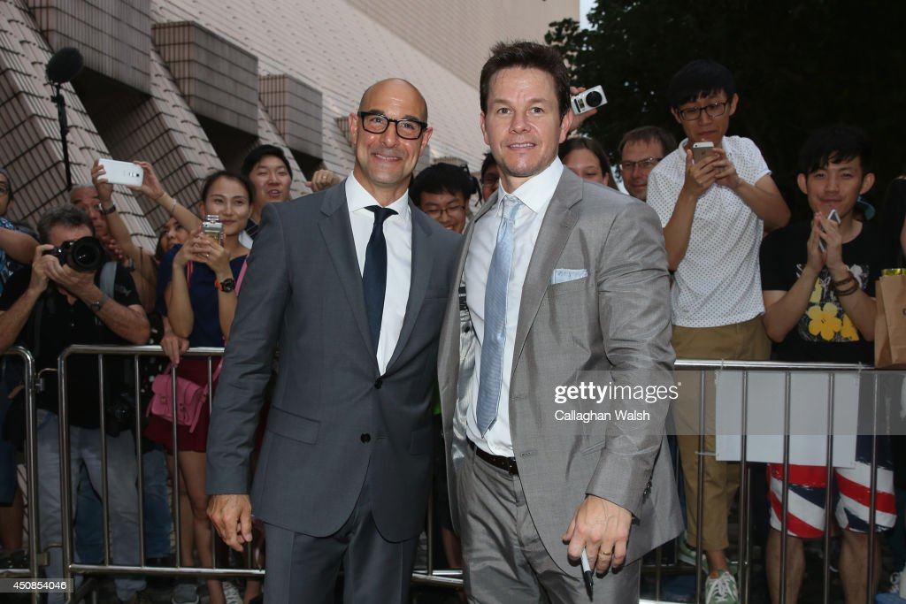 <a gi-track='captionPersonalityLinkClicked' href=/galleries/search?phrase=Stanley+Tucci&family=editorial&specificpeople=209366 ng-click='$event.stopPropagation()'>Stanley Tucci</a> (L) and <a gi-track='captionPersonalityLinkClicked' href=/galleries/search?phrase=Mark+Wahlberg&family=editorial&specificpeople=202265 ng-click='$event.stopPropagation()'>Mark Wahlberg</a> arrive at the worldwide premiere screening of 'Transformers: Age of Extinction'at the on June 19, 2014 in Hong Kong, Hong Kong.