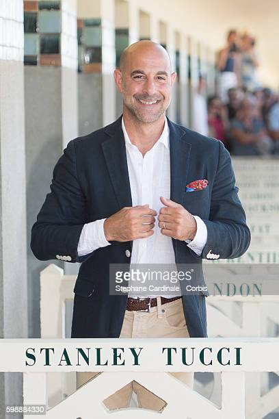 Stanley Tucci attends the unveiling of his dedicated beach locker room on the Promenade des Planches during the 42nd Deauville American Film Festival...
