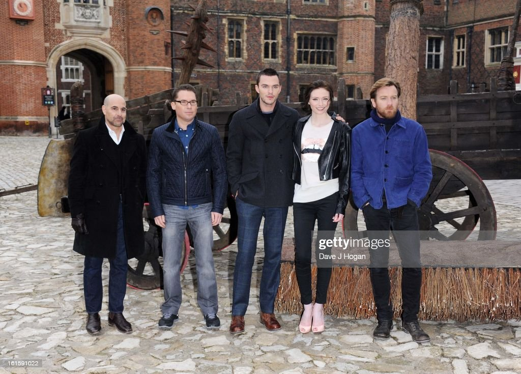 Stanley Tucci, Bryan Singer, Nicholas Hoult, Eleanor Tomlinson and Ewan McGregor attend a photocall for 'Jack The Giant Slayer' at Hampton Court Palace on February 12, 2013 in London, England.