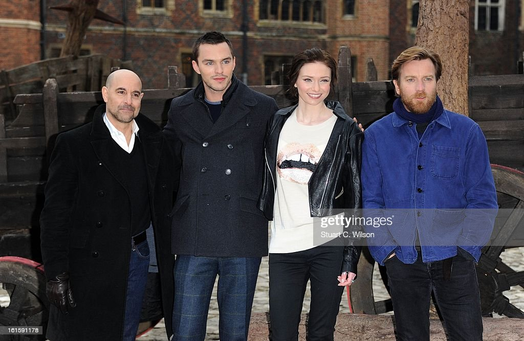 Stanley Tucci, Nicholas Hoult, Eleanor Tomlinson and Ewan McGregor attend a photocall for 'Jack The Giant Slayer' at Hampton Court Palace on February 12, 2013 in London, England.