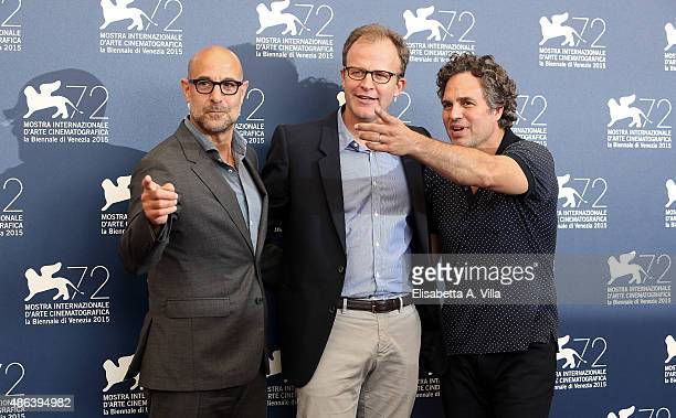 Stanley Tucci Thomas McCarthy and Mark Ruffalo attend a photocall for 'Spotlight' during the 72nd Venice Film Festival on September 3 2015 in Venice...