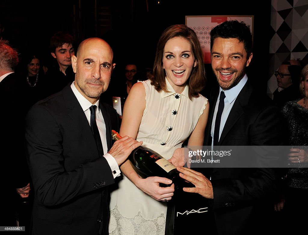 Stanley Tucci, wife Felicity Blunt and Dominic Cooper attend an after party following the Moet British Independent Film Awards 2013 at Old Billingsgate Market on December 8, 2013 in London, England.