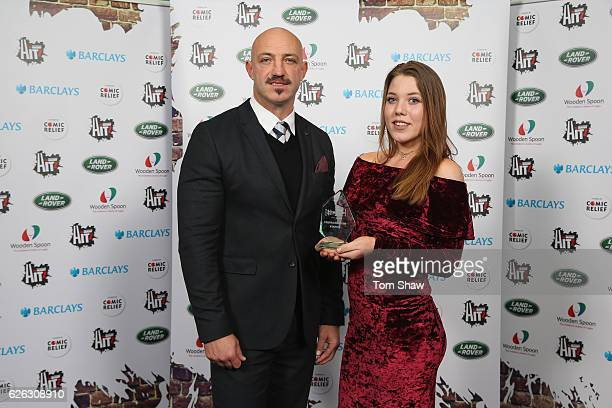Stanna Shaylor of Wasps poses with the HITZ Young Ambassador Award supported by Premiership Rugby with Wayne Morris from Premiership Rugby during the...