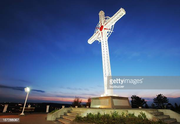 St-Anne Cross in Saguenay City at Sunset