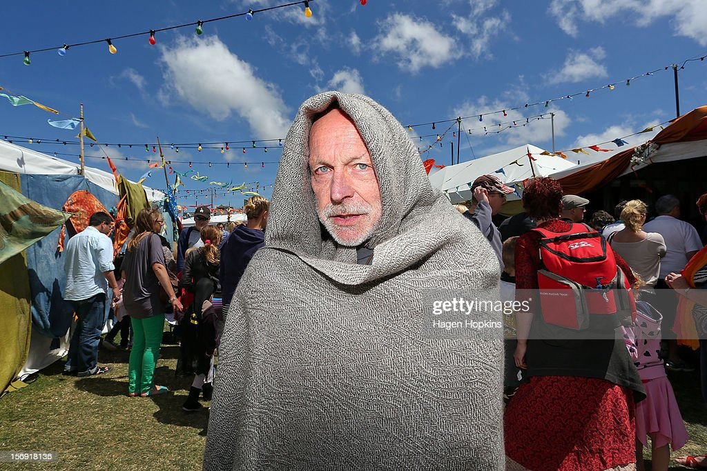 Stansborough owner Barry Eldridge poses with one of his woven cloaks outside his stall during the Hobbit Artisan Market ahead of the 'The Hobbit: An Unexpected Journey' world premiere at Waitangi Park on November 25, 2012 in Wellington, New Zealand.