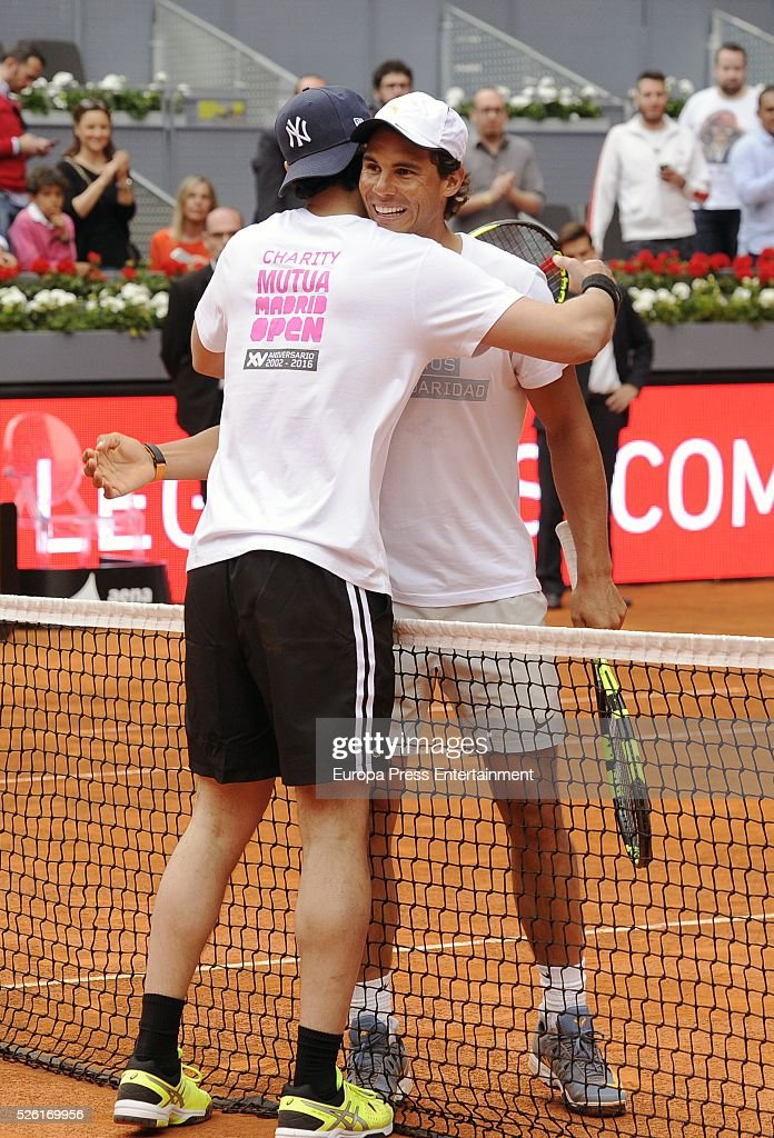 Stany Coppet and Rafa Nadal (R) attends Charity Day Tournament during Mutua Madrid Open at La Caja Magica on April 29, 2016 in Madrid, Spain.