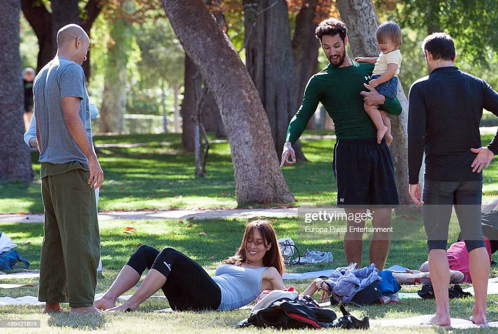 Stany Coppet Dolores Chaplin and their son Akilles Coppet are seen doing yoga on September 19 2015 in Madrid Spain