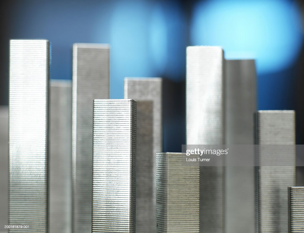 Staple rows standing upright side by side, close-up
