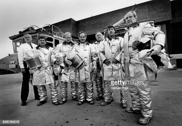 Stapleton Airport Fire Station Crash Crew L R Chief Donald Sloss Leo Schamberger Larry Bahmeier Capt Tony Hakar O J Duncklee Dennis Somers Capt Tom...