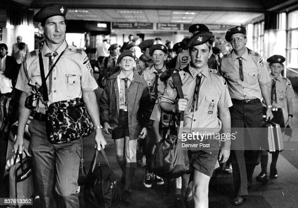 Stapleton Airport/United Flight 318 Gate AI Boy Scouts Troop 514 from monument on their way to catch there flight to Philadelphia to participate in...