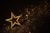 Star Abstract Decoration Lights, Gold Sparkles, Shine Blurred Black Background
