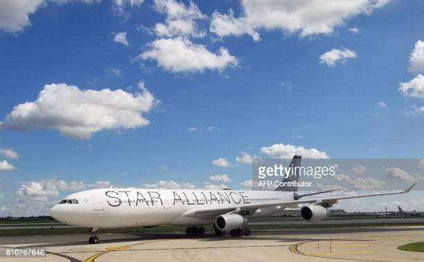 A Star Alliance plane is seen at Philadelphia International Airport on July 7 2017 in Philadelphia Pennsylvania Star Alliance is a global airline...