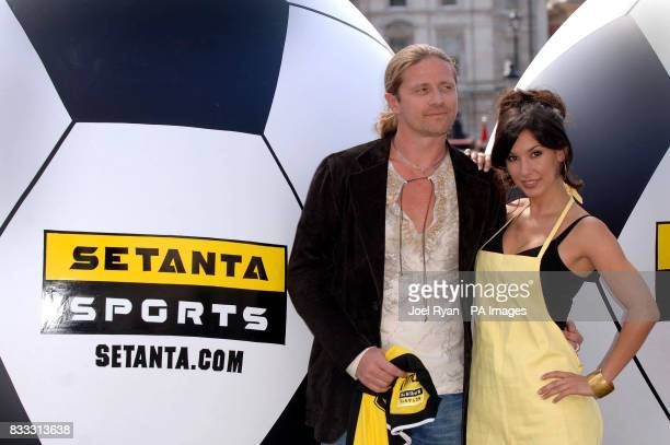 Star analyst for Setanta's Premier League coverage Emmanuel Petit and star of Setanta's latest TV ad campaign Thaila Zucci launch their debut...