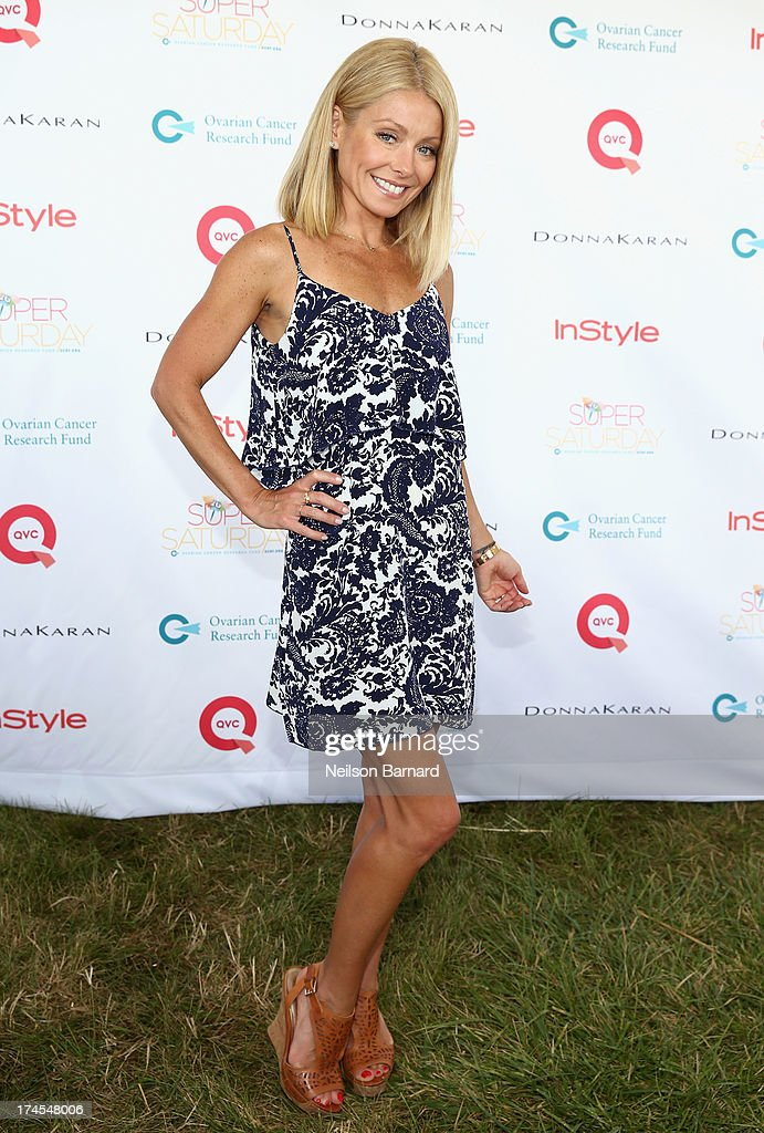Star and Host <a gi-track='captionPersonalityLinkClicked' href=/galleries/search?phrase=Kelly+Ripa&family=editorial&specificpeople=202134 ng-click='$event.stopPropagation()'>Kelly Ripa</a> attends QVC Presents Super Saturday LIVE! at Nova's Ark Project on July 27, 2013 in Water Mill, New York.