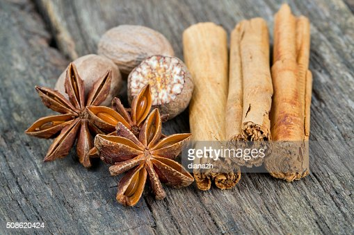 star anise, ceylon cinnamon and nutmeg : Stock Photo