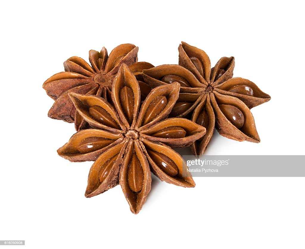 Star anise isolated on white background. : Stock Photo