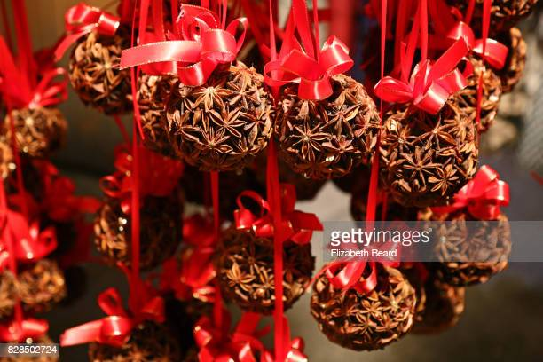 Star anise ornaments, Vienna Rathaus Christmas Market at night