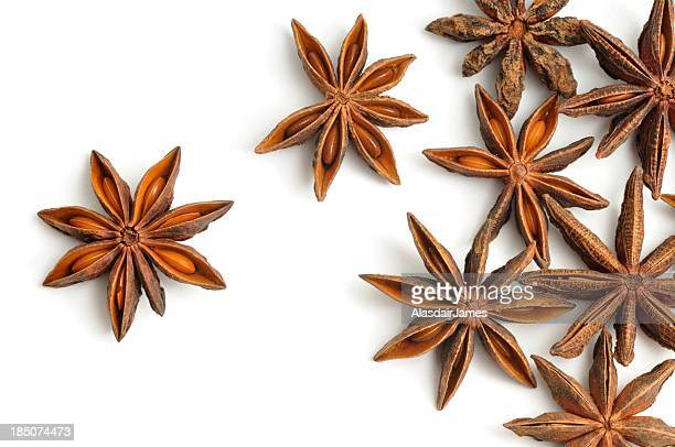 Star anise pods scattered