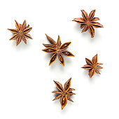 Set star anise, isolated on white background