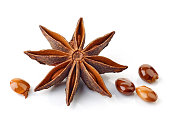 Star anise spice and seeds isolated on white background