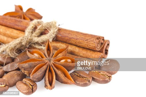 Star anise with cinnamon and coffee seed : Stock Photo