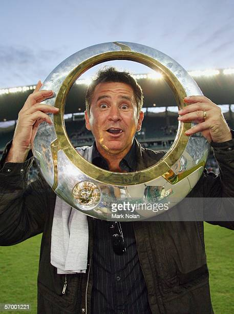 TV star Anthony LaPaglia holds the premiership trophy after the ALeague Grand Final between Sydney FC and the Central Coast Mariners at Aussie...