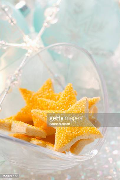 Star biscuits with yellow icing
