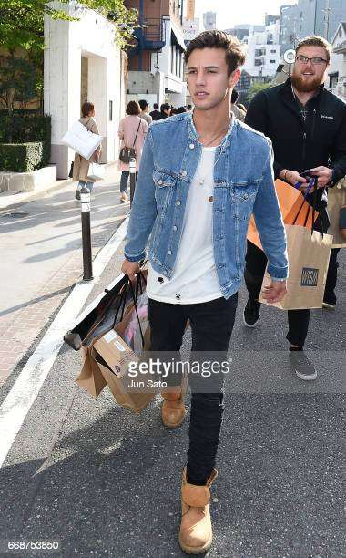 Star blogger Cameron Dallas is seen at Omotesando street on April 15 2017 in Tokyo Japan