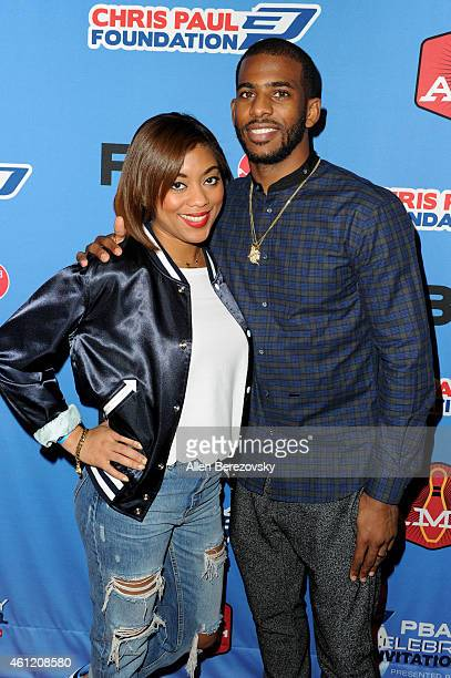NBA star Chris Paul and wife Jada Crawley attend the 6th Annual CP3 PBA Celebrity Invitational presented by AMF hosted by LA Clippers allstar guard...