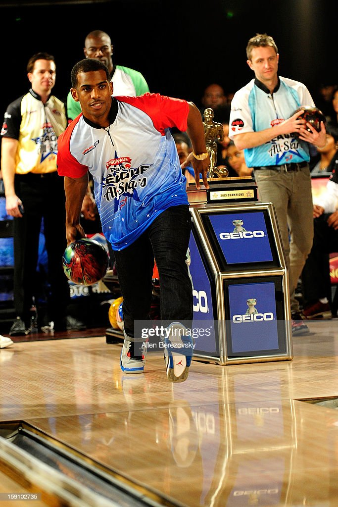 NBA star Chris Paul bowls at the 5th annual Chris Paul PBA All-Stars Invitational hosted by LA Clippers star guard Chris Paul at Lucky Strike Lanes at L.A. Live on January 7, 2013 in Los Angeles, California.