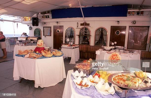 Star Clipper Reise Kreuzfahrt von Mexico über Honduras nach Belize/Mittelamerika unter DeckTeil des Buffets Abendessen Segelschiff