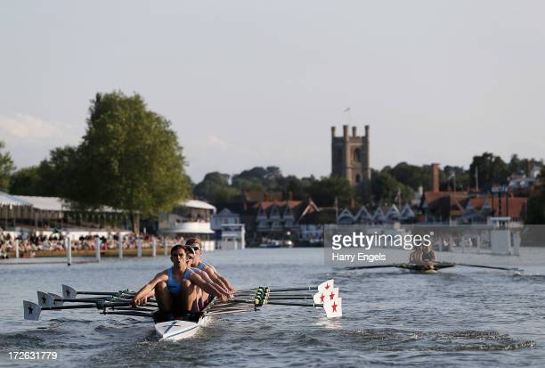 Star Club row down the straight during their Fawley Challenge Cup race against Maidenhead Rowing Club on day two of the Henley Royal Regatta on July...