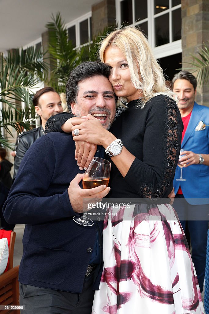 Star coiffeur Shan Rahimkhan and german former professional swimmer <a gi-track='captionPersonalityLinkClicked' href=/galleries/search?phrase=Franziska+van+Almsick&family=editorial&specificpeople=211280 ng-click='$event.stopPropagation()'>Franziska van Almsick</a> during the 'Ein Herz fuer Kinder' summer party at Wannseeterrassen on May 26, 2016 in Berlin, Germany.