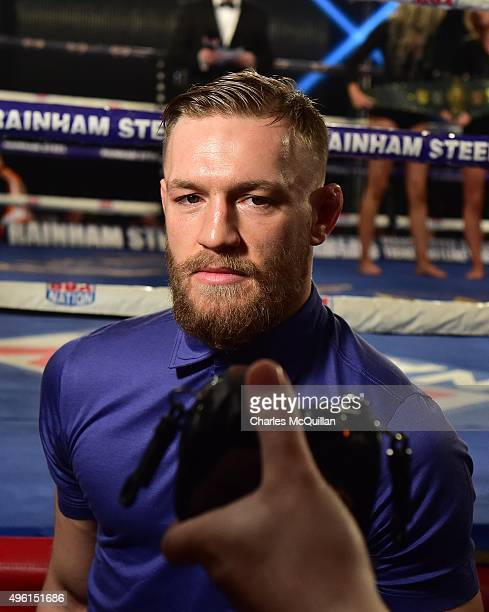 MMA star Conor McGregor is interviewed ringside during The Second Coming boxing bill at the National Stadium on November 7 2015 in Dublin Ireland