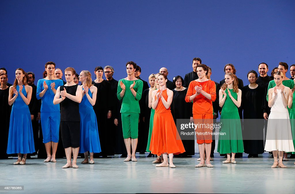 Star Dancer Aurelie Dupont (in orange C) performs with others Star Dancers in 'Daphnis et Chloe' show at the AROP Charity Gala. Held at Opera Bastille on May 21, 2014 in Paris, France.