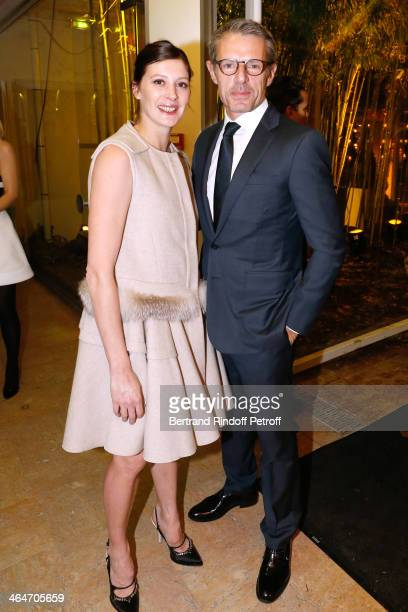 Star Dancer MarieAgnes Gillot and actor Lambert Wilson attend the Sidaction Gala Dinner 2014 at Pavillon d'Armenonville on January 23 2014 in Paris...