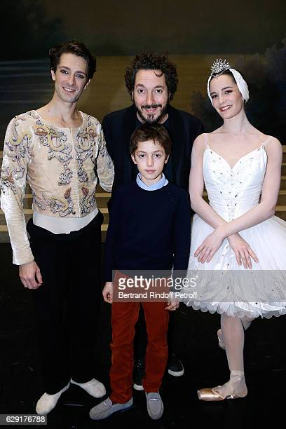 Star Dancer Mathieu Ganio Actor Guillaume Gallienne his son Tado and Star Dancer Amandine Albisson pose after the 'Reves d'Enfant' Charity Gala with...