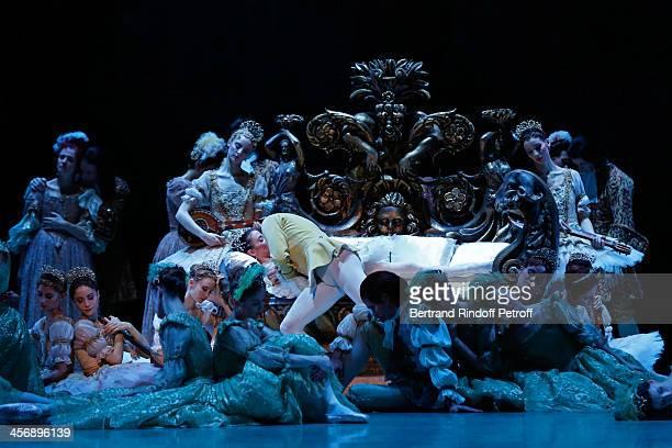 Star dancers Ludmila Pagliero lying on bed and Josua Hoffalt kissing her perform Rudolf Nureyev's 'Sleeping Beauty' within the 'Reves d'Enfants' Arop...