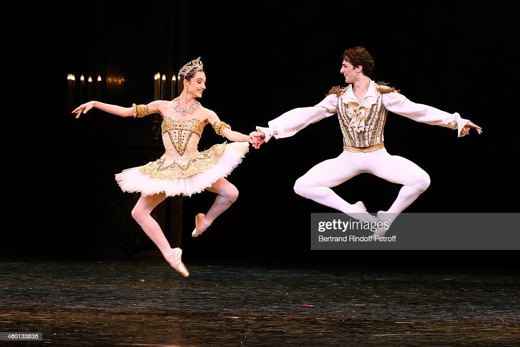 Star Dancers Mathieu Ganio and Dorothee Gilbert perform in the Ballet 'Casse Noisette' during the Matinee 'Reve d'enfants' with Ballet 'Casse Noisette'. Organized by AROP at Opera Bastille on December 7, 2014 in Paris, France.