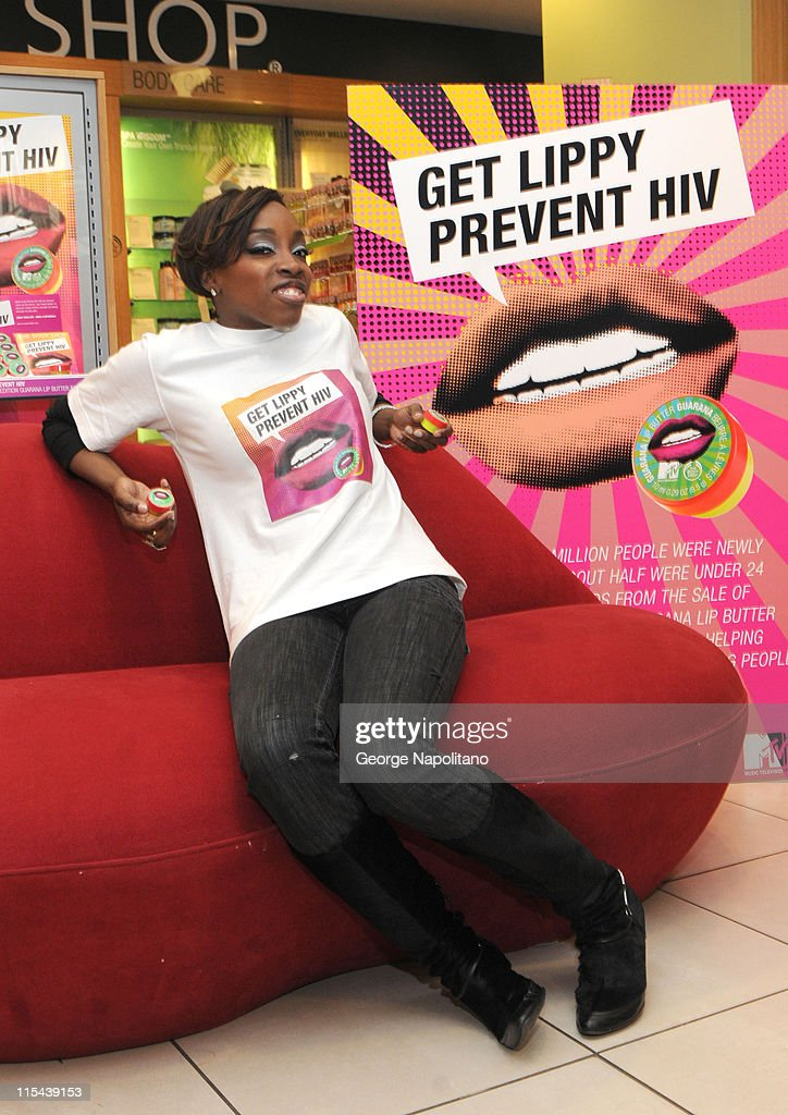 R B star Estelle joins The Body Shop and MTV To launch HIV and AIDS Initiative at the Body Shop on April 3 2008 in New York City