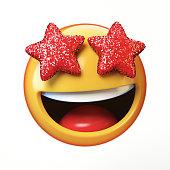 Star eyes emoji isolated on white background, glamorous emoticon 3d rendering