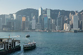 Star Ferries and City Skyline, Hong Kong, China