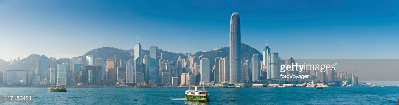Star Ferry Hong Kong Harbor skyscrapers Victoria Peak panorama China