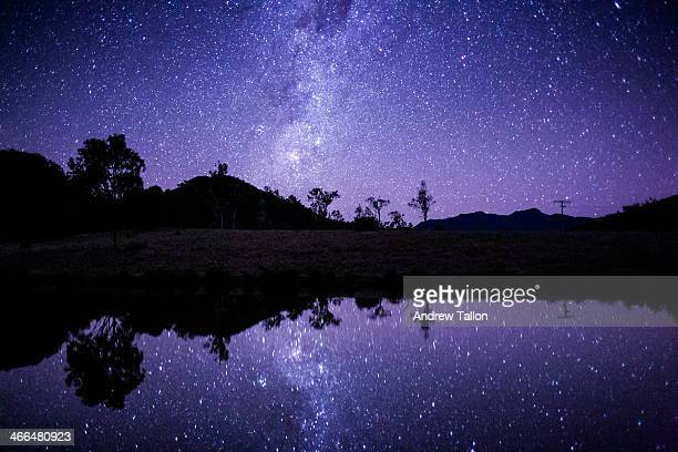 Star Field Lake Reflections