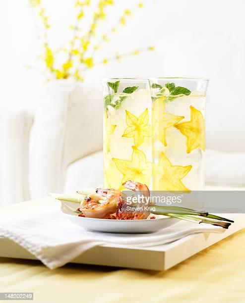 Star Fruit Cocktails with Shrimp Skewers
