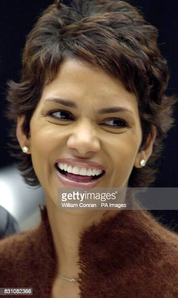 Star Halle Berry during a photocall at Pinewood Studios north of London for 'Bond 20' the working title for the latest film which starts production...