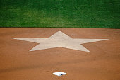 A star is seen in the infield dirt at Wrigley Field before the game between the Chicago Cubs and the Miami Marlins on July 4 2015 in Chicago Illinois