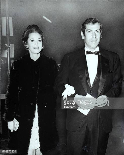 Star Jane Fonda wearing a black minimink by Georges Kaplan and husband Roger Vadim were among the guests at the glittering American premiere of the...