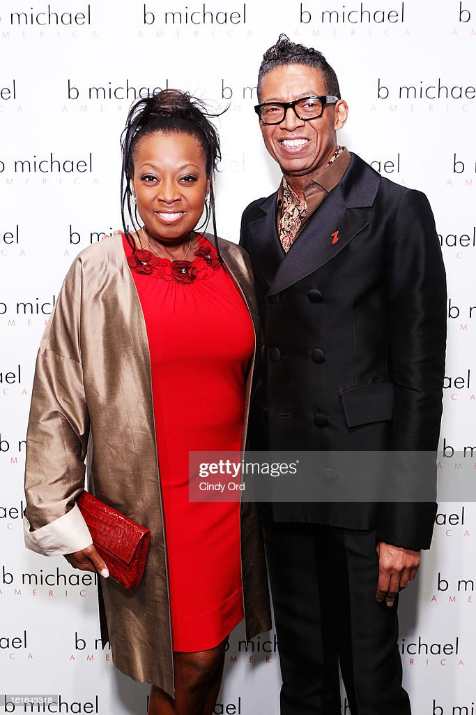 <a gi-track='captionPersonalityLinkClicked' href=/galleries/search?phrase=Star+Jones&family=editorial&specificpeople=202645 ng-click='$event.stopPropagation()'>Star Jones</a> and B Michael attend backstage at the B Michael America Fall 2013 fashion show during Mercedes-Benz Fashion Week at The Studio at Lincoln Center on February 13, 2013 in New York City.